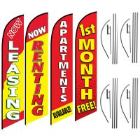 Apartment Feather Flag Package – Pack of 4 with Pre-Curved Poles & Ground Spike