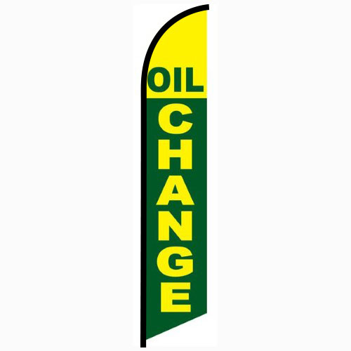 Oil Change Green and Yellow Feather Flag FFN-5214