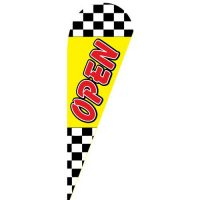 Open checkered Teardrop Flag