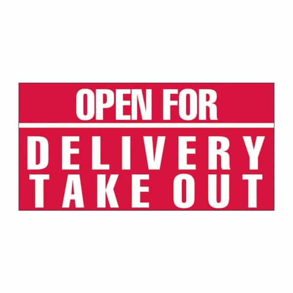 Open for Delivery Take Out Vinyl