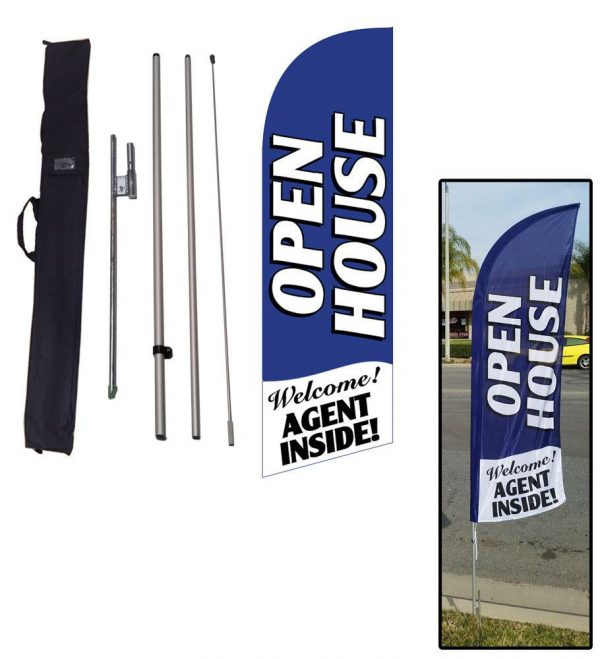 Our most popular blue Open House feather flag is now on sale!