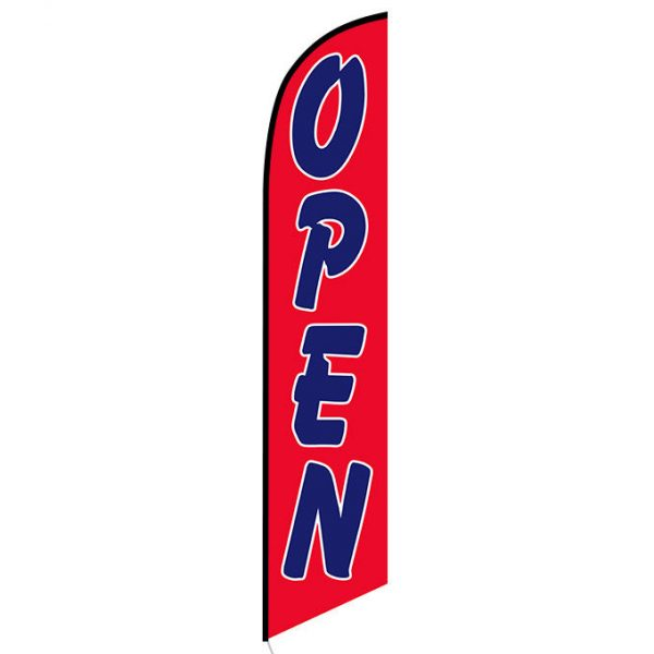 Open (red and blue) Feather Flag FFN-5061D front