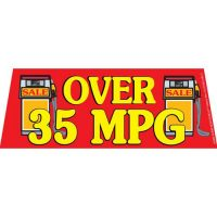 Over 35 MPG Red windshield banner