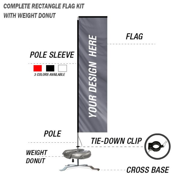 custom rectangle banner flag kit with cross base standing weight donut with poles