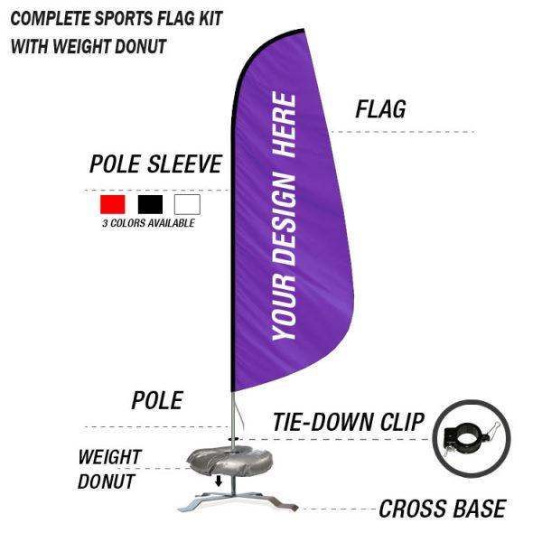 sports feather banner flag with cross base kit swooper flag