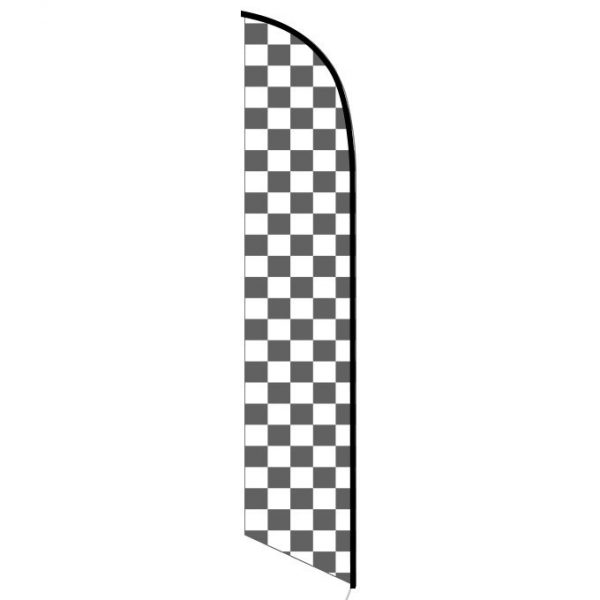 Solid Black and White Checkers Feather Banner Flag