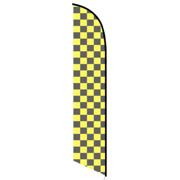 Solid Black and Yellow Checkers Feather Banner Flag