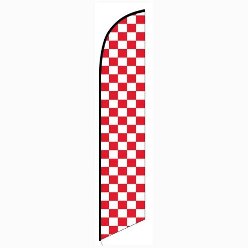 Solid Red and White Checkers Feather Banner Flag