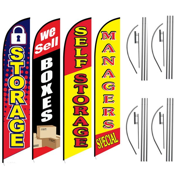 Storage-We-Sell-Boxes-Self-Storage-Managers-Special-Self-Storage-Feather-Flag-Package