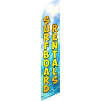 Surfboard Rentals 2 Feather Flag Kit with Ground Stake