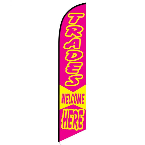 Trades Welcome Here feather flag