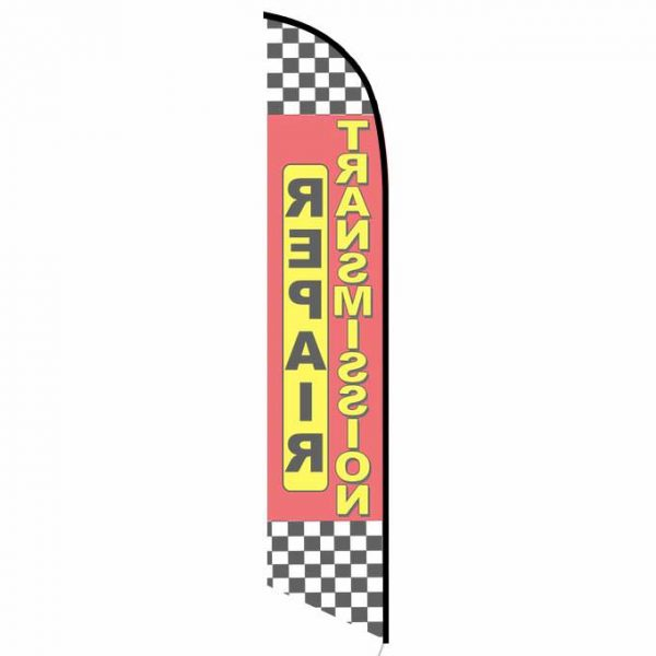 Transmission Repair red checkered Banner Flag FFN-5346 back