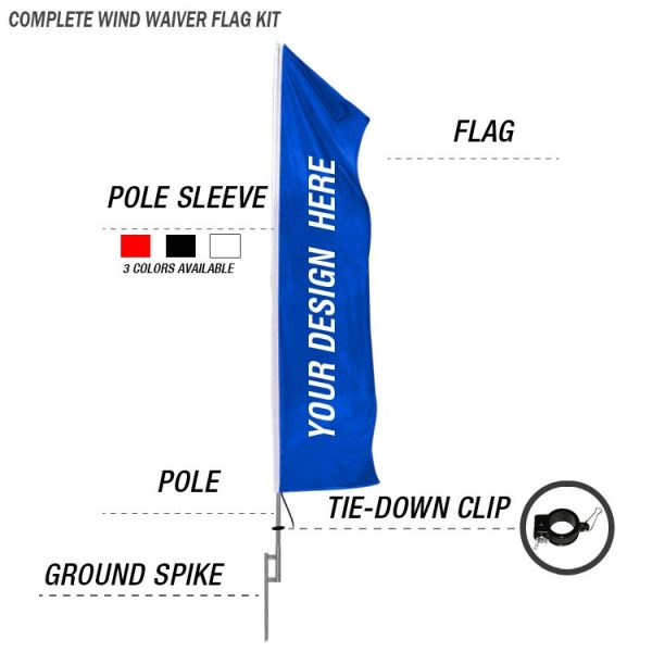 wind waiver feather banner flag kit with ground spike custom