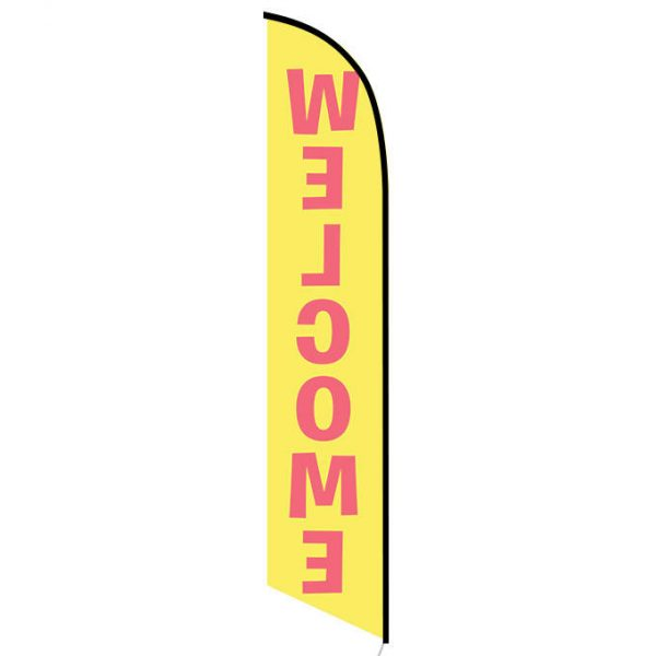 Welcome yellow feather flag