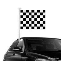 Black White checkered Window Clip-on Flag