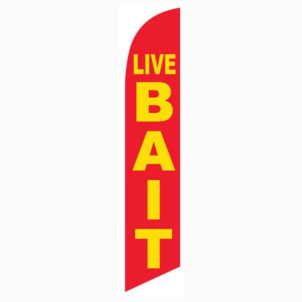 This Live Bait feather flag is the perfect banner for all fishing supply stores