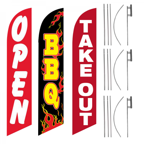 open-bbq-take-out-feather-flag-package-ffn-5541-ffn-5103-ffn-99906