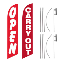 Open Carry Out Feather Flag Package – Pack of 2 with Pre-Curved Poles & Ground Spike