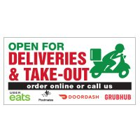 Open for Deliveries & Take-Out Vinyl Banner
