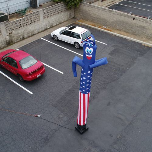 Patriotic Inflatable tube man - aerial view.