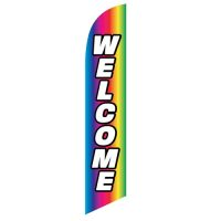 Welcome Rainbow Feather Flag