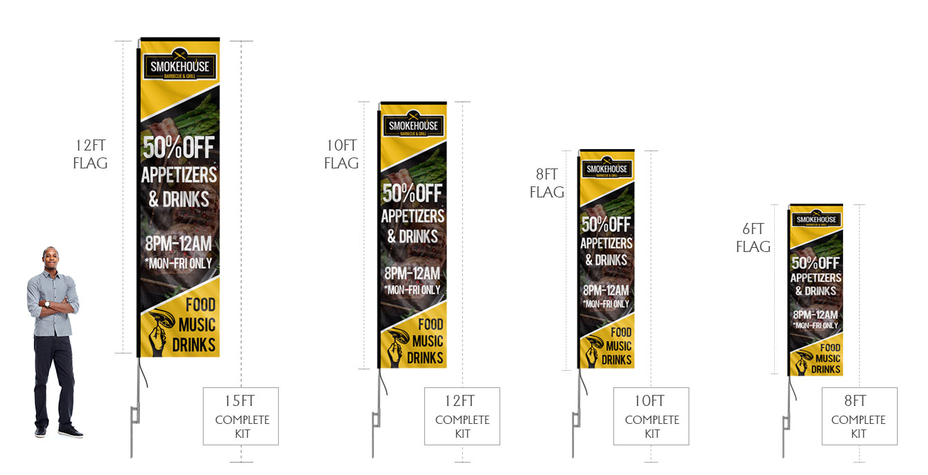 rectangle banner flags sizes