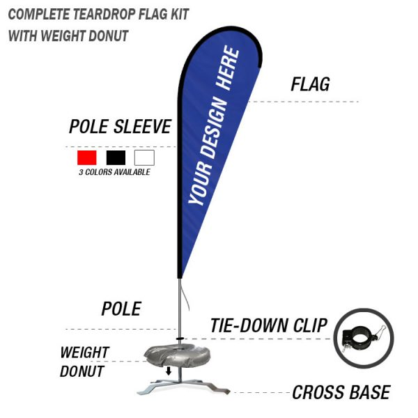 teardrop banner flag with cross base weight donut stand