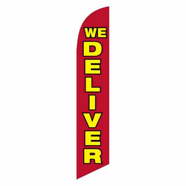 we-deliver-feather-flag-red background yellow text