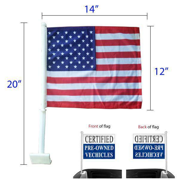 American window clip-on flag